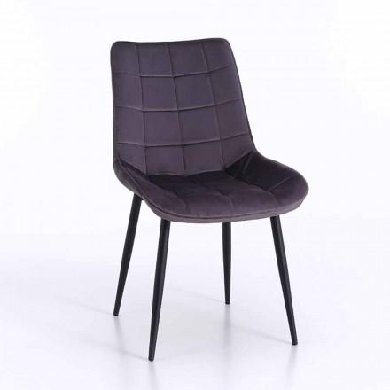 Krzesło do jadalni z metalu z tapicerowanym i zakrytym siedziskiem, 4 sztuki - Cronos