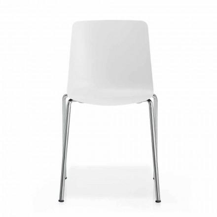 Wykonane we Włoszech Krzesło do jadalni z metalu i polipropylenu, 4 sztuki - Carlita