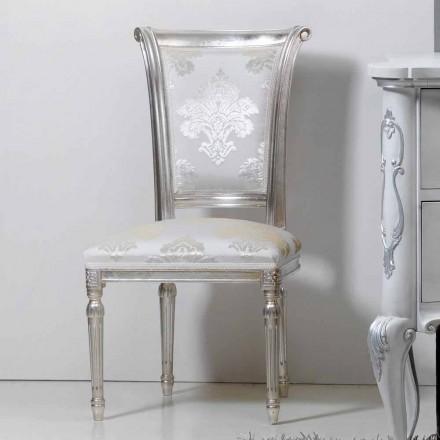 Krzesło klasyczne drewniane w wykończeniu liścia srebrnego model Miel