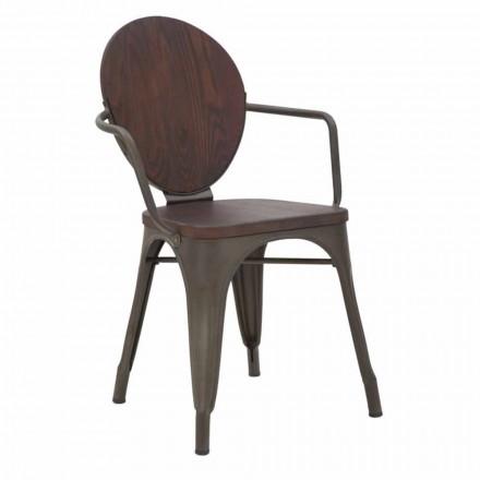 Krzesło w stylu industrialnym, drewniane siedzisko i żelazna podstawa, 2 sztuki - Delia