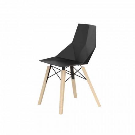 Krzesła do salonu lub kuchni z polipropylenu i drewna - Faz Wood firmy Vondom