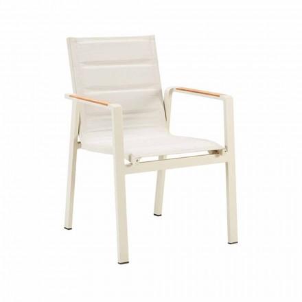 Krzesło do jadalni na zewnątrz z możliwością układania w stos z aluminiowymi podłokietnikami i 4-częściowymi podłokietnikami - Bilel