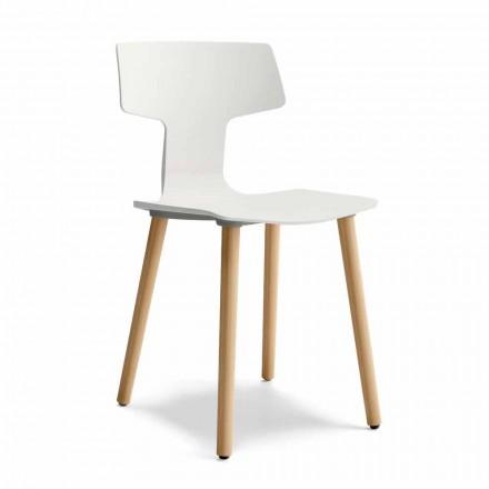 Krzesło do jadalni z drewna i polipropylenu Made in Italy, 2 sztuki - koniczyna