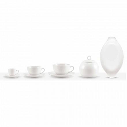 Zestaw 18 filiżanek kawy i herbaty z cukiernicą i tacą porcelanową - Lucerna