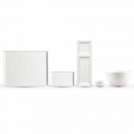 Zestaw 20 naczyń z białej porcelany o nowoczesnym prostokątnym designie - Laos