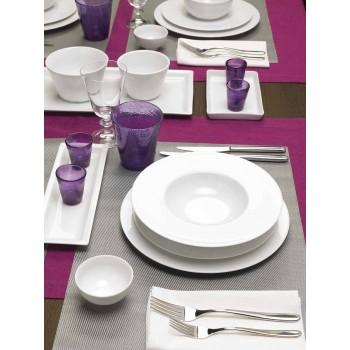 Serwis 24 nowoczesnych białych talerzy i 12 porcelanowych filiżanek - Monaco