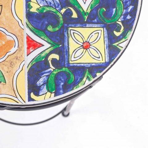 Obsługa 3 okrągłych stołów ogrodowych ze stali i dekorów - Zaczarowanie