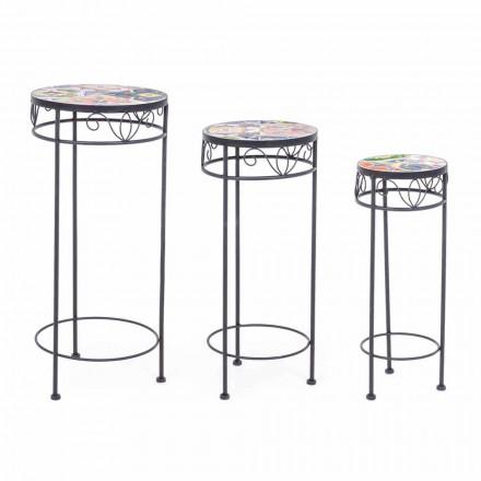 3 okrągłe stalowe stoły ogrodowe z dekoracyjnymi dekorami - inspirujące