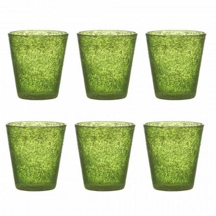 Zestaw 12 kolorowych szklanych dmuchanych szklanek o nowoczesnym designie - Pumba