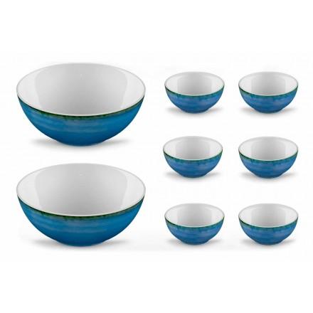 Serwis 6 misek na lody i 2 miski z kolorowej porcelany - Rurolo