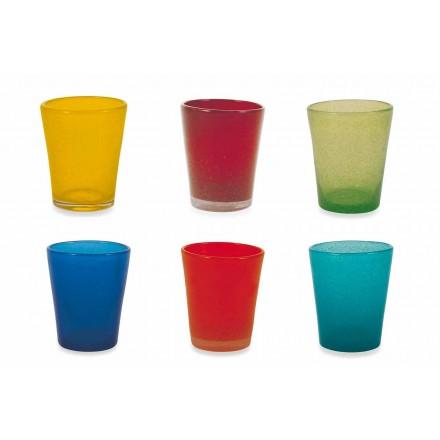 Serwis szkła wodnego 12 sztuk dmuchanego i kolorowego szkła - Yucatan Folk