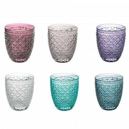 Kolorowe i zdobione szklanki do wody Serwis 12 sztuk szkła - pastylki do ssania
