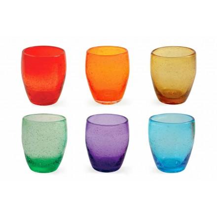Serwis szkła wodnego w szkle kolorowym i nowoczesnym 12 sztuk - Guerrero