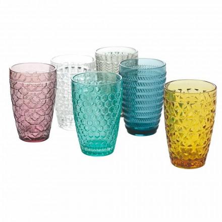 Nowoczesny zestaw do napojów z dekorowanego kolorowego szkła, 12 sztuk - mix