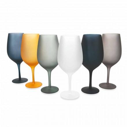 Zestaw kieliszków do czerwonego lub białego wina z kolorowego szkła, 12 sztuk - obręcz