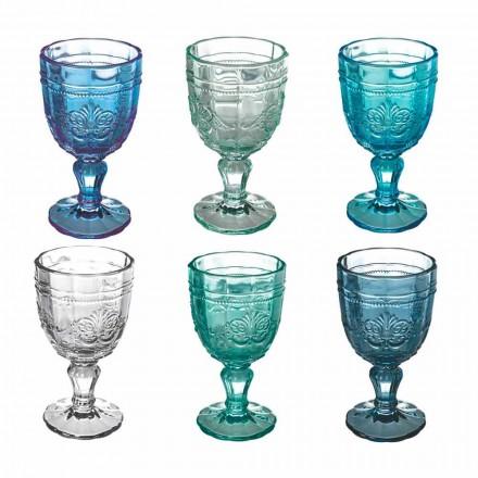 Zestaw kolorowych kielichów do wina ze szkła i dekoracji w stylu orientalnym, 12 sztuk - śruba