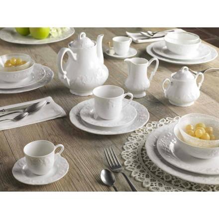 Kompletna usługa śniadaniowa 22 sztuk w białej porcelanie - Gimignano