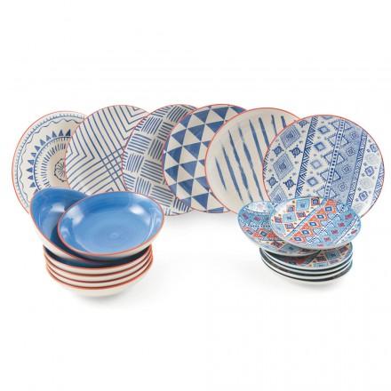 Kompletny serwis stołowy Kolorowe i nowoczesne dania 18 sztuk - Incas