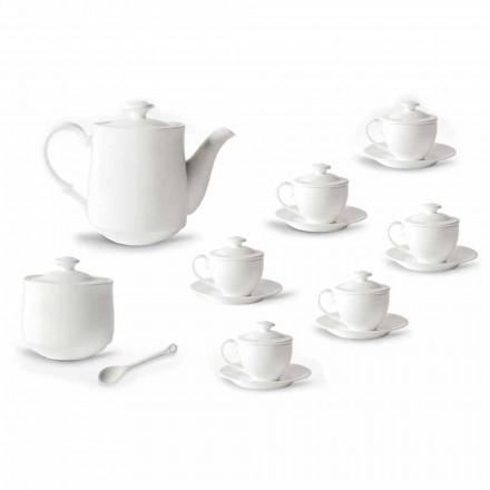 Kompletny serwis filiżanek do kawy 21 sztuk z białej porcelany - Samantha