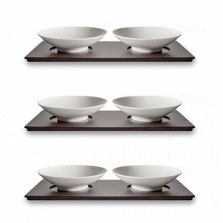 Serwis małych filiżanek z drewnianą tacą Nowoczesny elegancki design 9 sztuk - Flavia