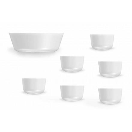 Zestaw 7 filiżanek i misek z białej porcelany w nowoczesnym stylu - Arctic