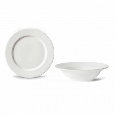 Serwis deserowy 6 misek i 6 designerskich spodków z białej porcelany - Samantha