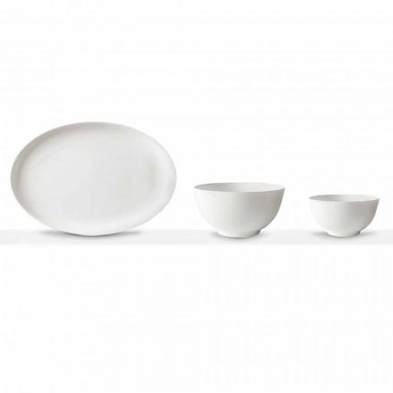 Zestaw do serwowania białej porcelany Owalny talerz i miska 10 sztuk - Romilda