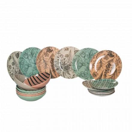 Kompletne naczynia stołowe z kolorowej porcelany 18 sztuk - balet