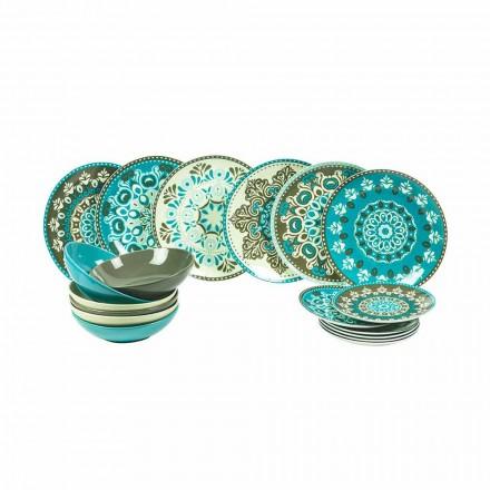 Zestaw porcelanowych zastaw stołowych w kolorze niebieskim, 18 sztuk - Eivissa