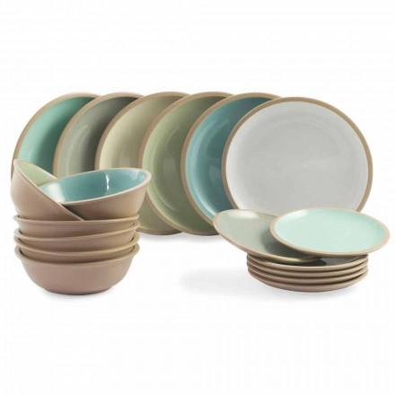 Zestaw obiadowy Kolorowe talerze Pełny projekt 18 sztuk - Osteria
