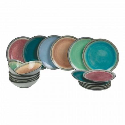 Serwisy stołowe w nowoczesnej kolorowej kamionce Ukończ 18 sztuk - Nassau