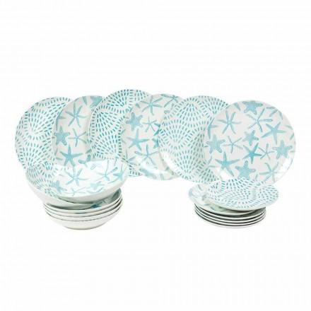 Talerze stołowe z białej i jasnoniebieskiej porcelany 18 sztuk - Cozumel