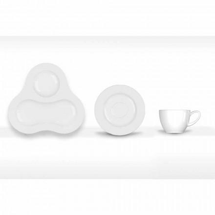 Kompletny zestaw do herbaty, nowoczesny design z białej porcelany, 14 sztuk - teleskop