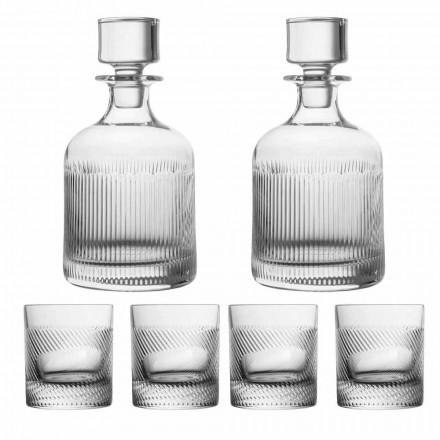 Ekologiczny, kryształowy zestaw do whisky 6-częściowy luksusowy design - dotykowy