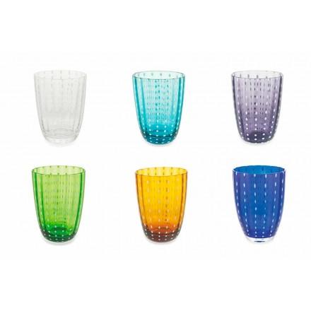 Zestaw 12 nowoczesnych szklanych szklanek kolorowych do wody - Botswana