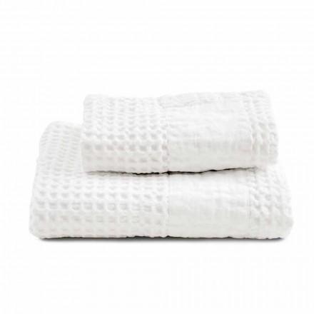 Zestaw ręczników łazienkowych z bawełny o strukturze plastra miodu i kolorowej lnu - Turis