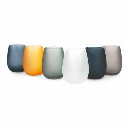 Nowoczesny zestaw kolorowych szklanek do wody, 12 sztuk - obręcz