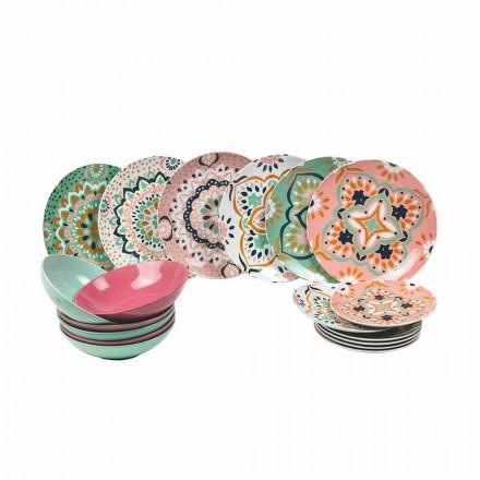 Zestaw kolorowych zastaw stołowych z porcelany 18 sztuk - Playasol