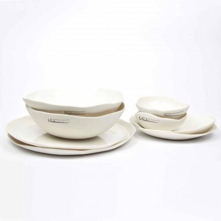 Luksusowy serwis 24-częściowych naczyń z białej porcelany - Arciregale
