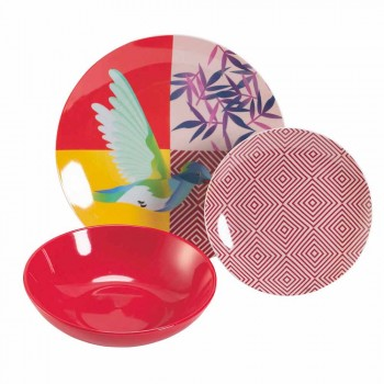 18-częściowy serwis obiadowy z porcelany i gresu w kolorze - Tropycale