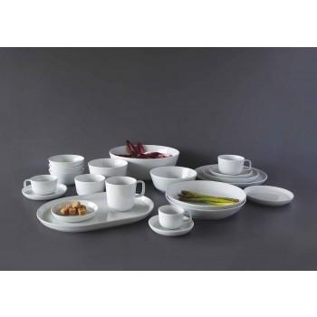 Biały, nowoczesny zestaw porcelanowych talerzy obiadowych, 24 sztuki - Arctic