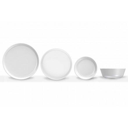 Biały, nowoczesny porcelanowy zestaw obiadowy, 24 sztuki - Arctic