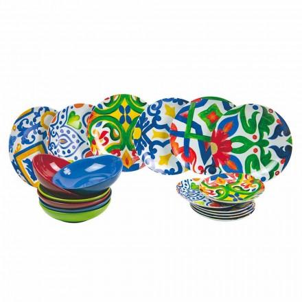 Zestaw nowoczesnych i kolorowych talerzy z kamionki i porcelany 18 sztuk - Ciclade