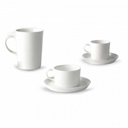 Serwis do kawy, herbaty i filiżanek śniadaniowych 30 sztuk z białej porcelany - Egle