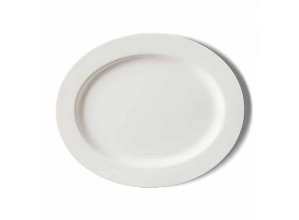 4-częściowy zestaw talerzy do serwowania z białej porcelany designerskiej - Samantha