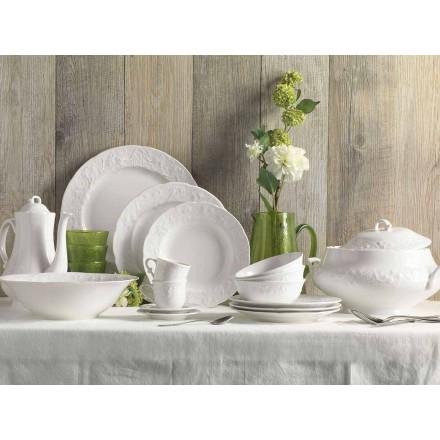 Zestaw 27 eleganckich białych porcelanowych talerzy - Gimignano