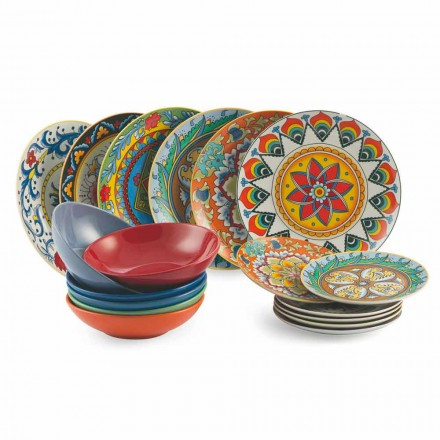 Kolorowy zestaw obiadowy 18 sztuk porcelany i kamionki - renesans