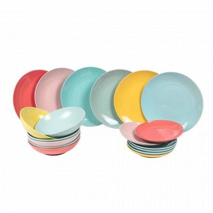 Zestaw obiadowy Kolorowa nowoczesna zastawa stołowa 18 sztuk kamionka - Miami