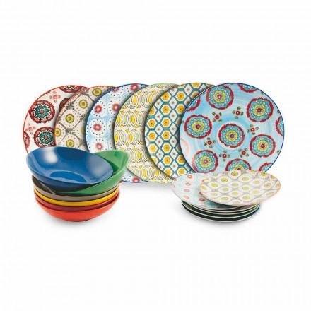 Zestaw nowoczesnych etnicznych kolorowych płytek z porcelany i kamionki 18 sztuk - Stambuł