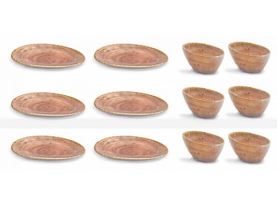 12-elementowy serwis talerzy z zakąską w kolorowej kamionce o nowoczesnym designie - Simba